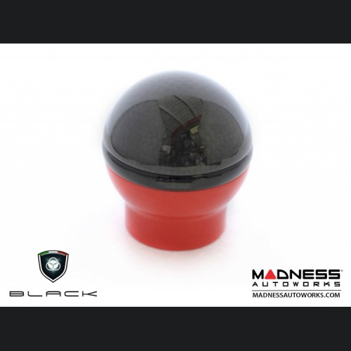 FIAT 500 Gear Shift Knob by BLACK - Carbon Fiber Top/ Red Base - w/ Reverse Lockout
