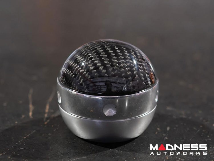 FIAT 500 Gear Shift Knob by BLACK - Carbon Fiber Top w/ Chrome Ring and Brushed Satin Base