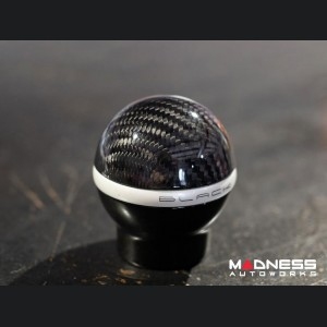 FIAT 500 Gear Shift Knob by BLACK - Carbon Fiber Top/ Black Base - w/ Reverse Lockout