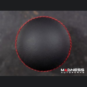 FIAT 500 Gear Shift Knob by BLACK - Black Leather Top w/ Gold Base