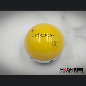 FIAT 500 Gear Shift Knob by BLACK - Yellow Top w/ Chrome Base