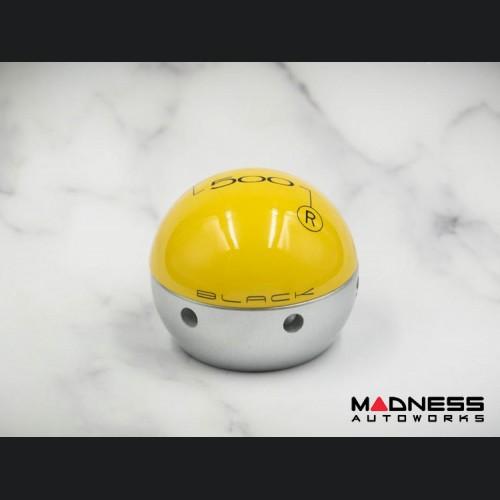FIAT 500 Gear Shift Knob by BLACK - Yellow Top w/ Silver Base