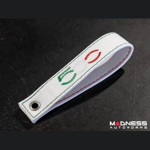 FIAT 500 Trunk Handle / Pull Strap - White w/ Italian Stitch + 500 Logo in Italian Colors