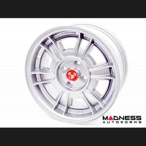 """FIAT 500 Custom Wheels - Competizione - Sportiva Design - 15"""" - Matte Silver"""