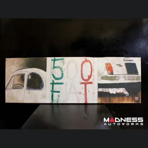 Classic Fiat 500 Artwork - Canvas Print - White