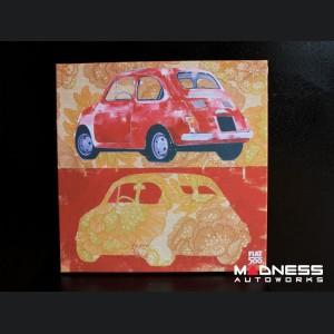 Classic Fiat 500 Artwork - Canvas Print - Red