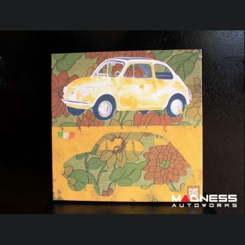 Classic Fiat 500 Artwork - Canvas Print - Yellow