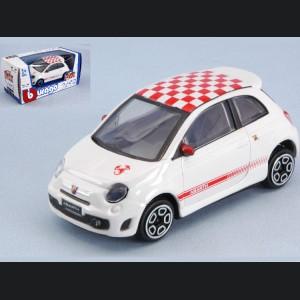FIAT 500 ABARTH Assetto Corse - Die Cast Model - White w/ Red Checker Roof - 1/43 scale