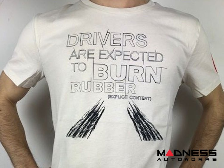 """ABARTH T-Shirt - """"Drivers Are Expected To Burn Rubber"""" - Cream - Small Only"""