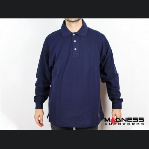 ABARTH Polo Shirt - Vintage - Long Sleeved - Navy - Large