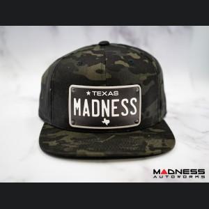 Cap - Snapback Style - Camo Design - w/ Texas Black Plate + MADNESS