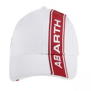 Cap - ABARTH - White w/ Red ABARTH Logo + Stripe