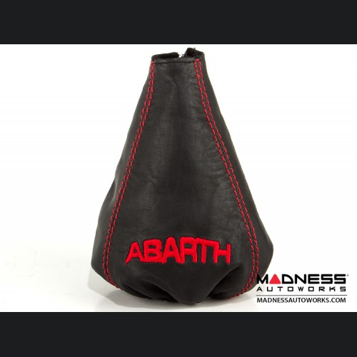 FIAT 500 Gear Shift Boot - Black Leather W/ Red Stitching and ABARTH Logo