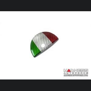FIAT 500 Glove Box Door Handle Cover - Carbon Fiber - Italian Flag