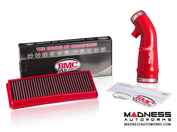FIAT 124 Factory Air Filter Housing Upgrade Kit - SILA Concepts - Red Silicone - Deluxe Kit w/ BMC Filter
