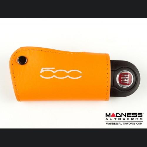 FIAT 500 Keychain/ Key Holder - Orange w/ 500 Logo