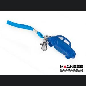 Keychain - Classic Fiat 500 - Blue Rubber
