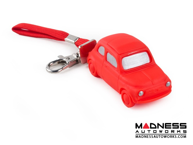 Keychain - Classic Fiat 500 - Red Rubber