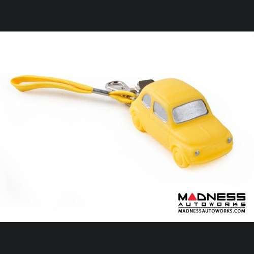 Keychain - Classic Fiat 500 - Yellow Rubber