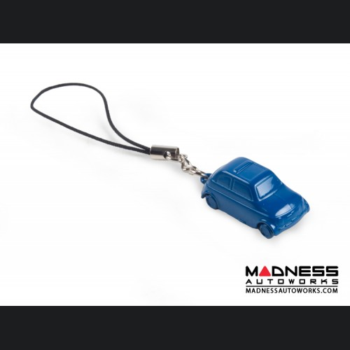 Keychain/ Phone Charm - Classic Fiat 500 - Blue
