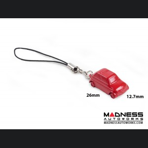 Keychain/ Phone Charm - Classic Fiat 500 - Red