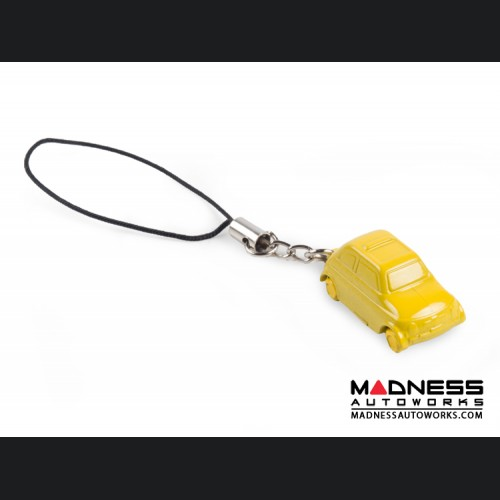 Keychain/ Phone Charm - Classic Fiat 500 - Yellow