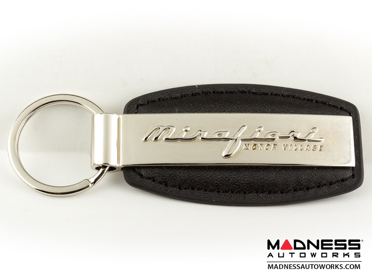 FIAT 500 Keychain - Black Leather Strap w/ Mirafiori Logo