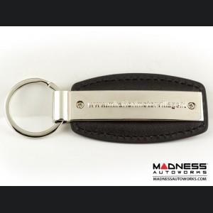 Keychain - Black Leather Strap w/ Mirafiori Logo