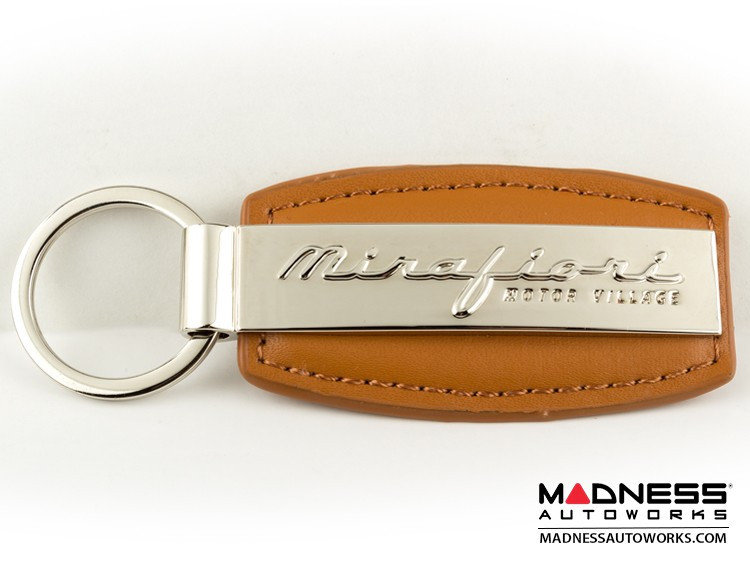 Keychain - Brown Leather Strap w/ Mirafiori Logo