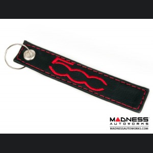 Keychain - FIAT 500 - Black w/ Red 500 Logo