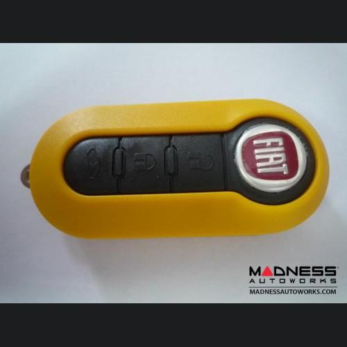 FIAT 500 Key Fob Housing and Uncut Key - Yellow Case