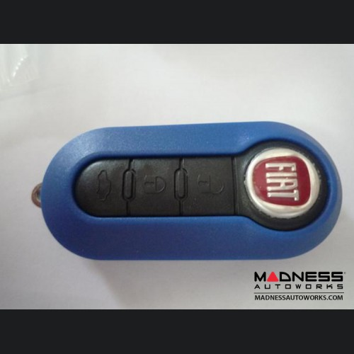 FIAT 500 Key Fob Housing and Uncut Key - Blue Case