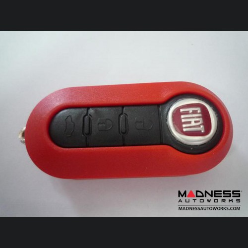FIAT 500 Key Fob Housing and Uncut Key - Red Case