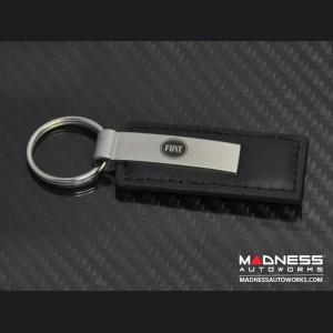 Keychain - Black Leather Strap w/ FIAT Logo