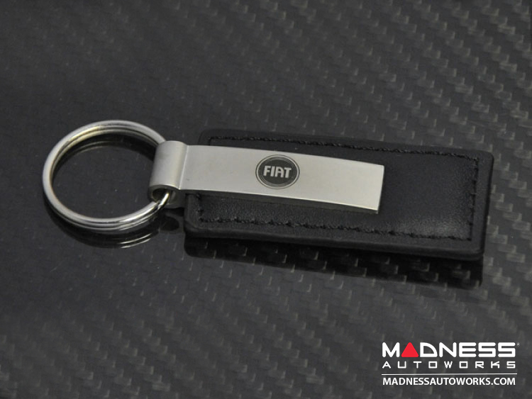 FIAT 500 Keychain - Black Leather Strap w/ FIAT Logo