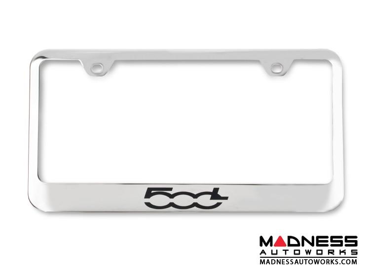 FIAT 500L License Plate Frame - Polished Stainless Steel - 500L Logo - Standard