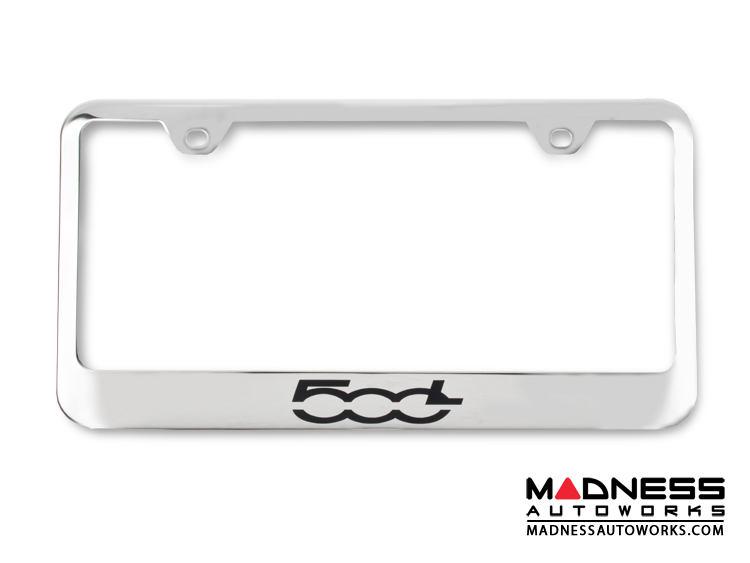 FIAT 500L License Plate Frame - Polished Stainless Steel - 500L Logo - Standard
