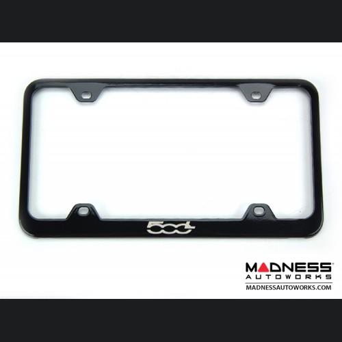 FIAT 500L License Plate Frame - Black - 500L Logo - Wideface