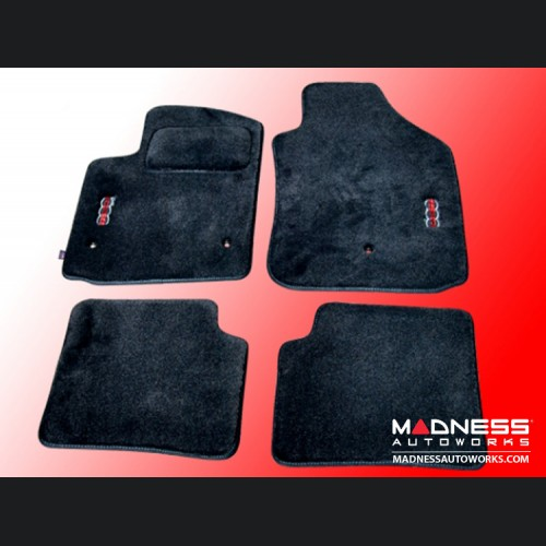 FIAT 500 Floor Mats - Premium Carpet - MADNESS - Front + Rear Set - w/ Small MADNESS Logo