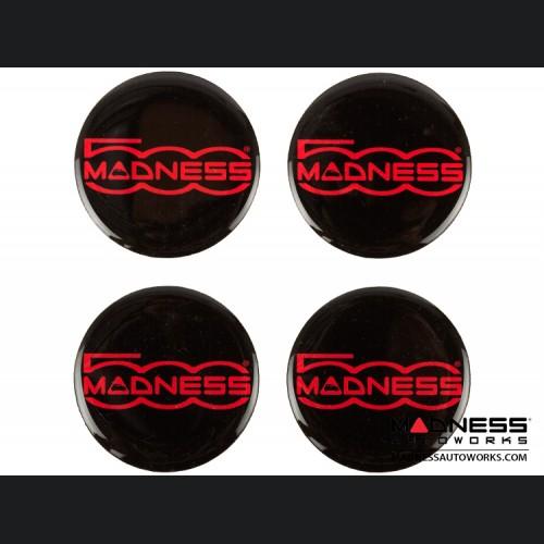 "MADNESS Wheel Badge Set (4) - Domed Round Badges w/ MADNESS Logo 1.75"" - Black"