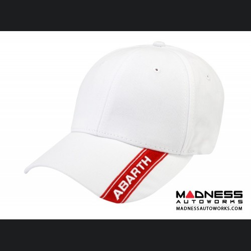 Cap - ABARTH - White w/ Red ABARTH Stripe