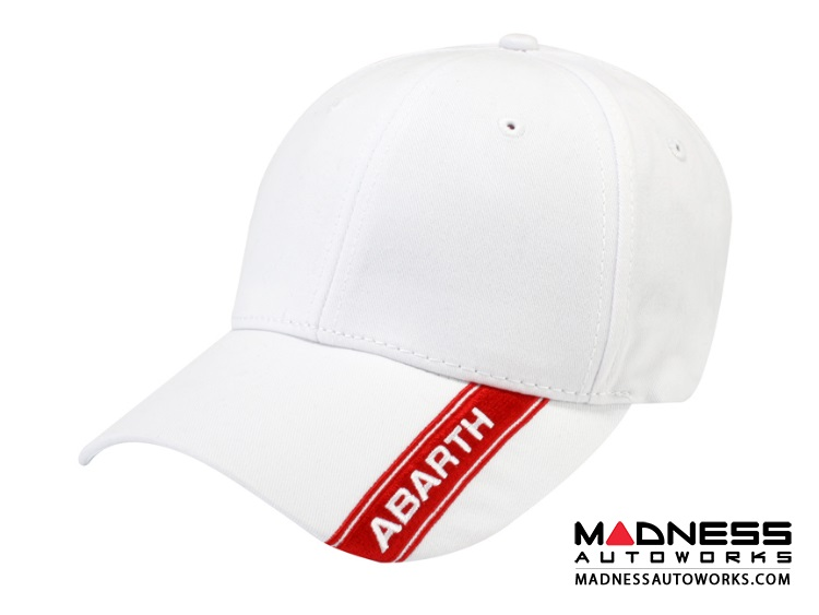 ABARTH Cap - White Hat w/ Red ABARTH Stripe