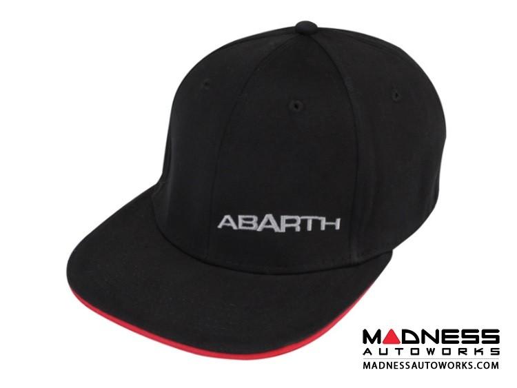 Cap - ABARTH - Black Fitted Flat BIll w/ Silver ABARTH Logo + ABARTH Crest