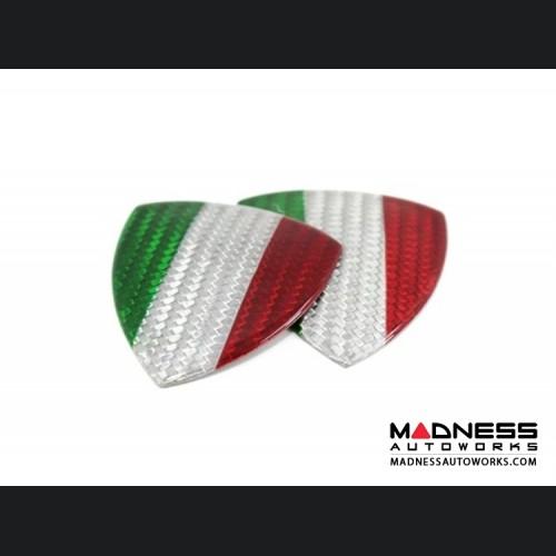FIAT 500 Badges - Carbon Fiber - Italian Flag Shield