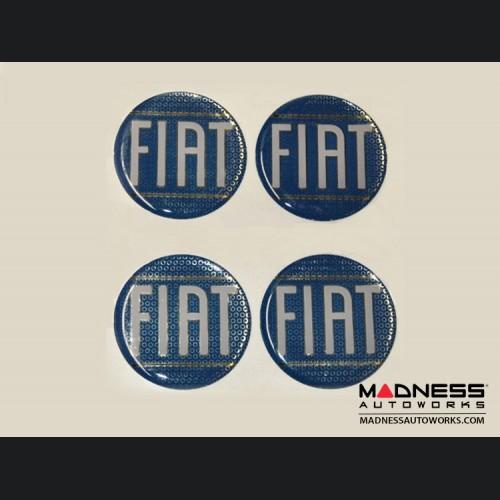 "Wheel Badges (4) - Classic FIAT Inspired Design - 1.75"" - Blue"