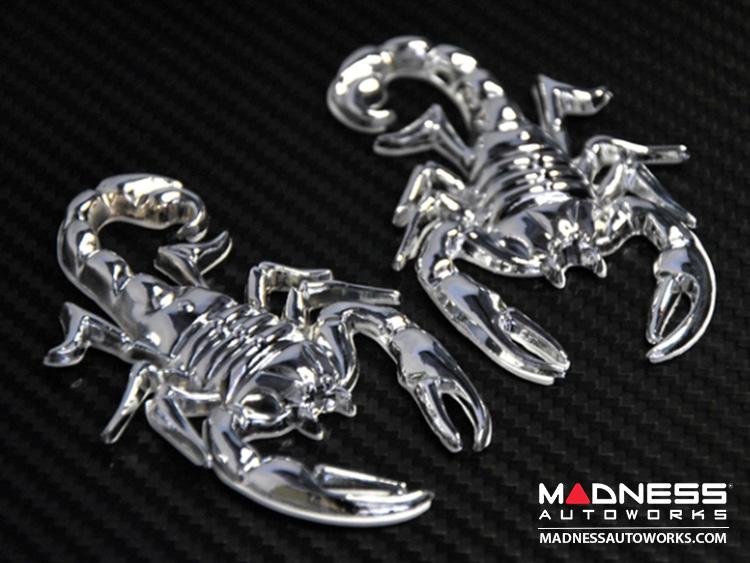 Scorpion 3D Badge Set - Chrome Finish (Set of 2)