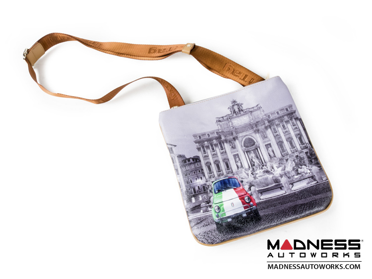 Fiat 500 Shoulder Bag - Classic Fiat 500 Tricolor / Trevi Fountain Theme