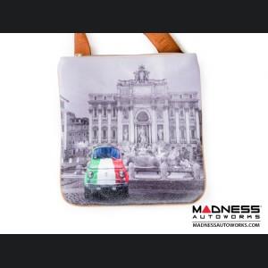 Fiat 500 Shoulder Bag - Classic Fiat 500 Tricolor / Trevi Fountain Theme