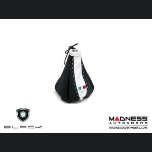 FIAT 500 Gear Shift Boot - Black and White Leather - Tuxedo Design w/ Italian Flag