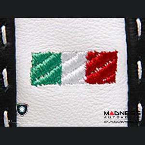 FIAT 500 Gear Shift Boot - Black and White Leather - Tuxedo w/ Scorpion Logo & Italian Flag